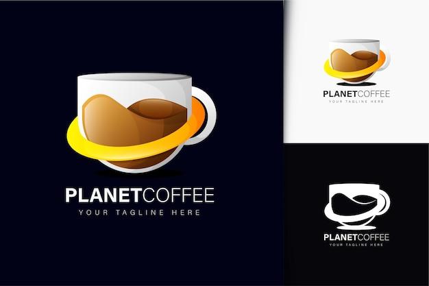 그라데이션이 있는 플래닛 커피 로고 디자인