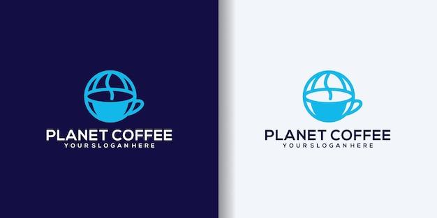 惑星コーヒーのロゴのテンプレート、レストラン、カフェのロゴ