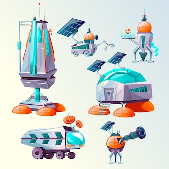 Planet colonization cartoon set