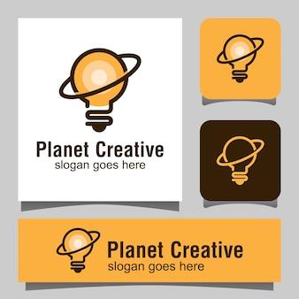 Креативный логотип планеты с лампочкой