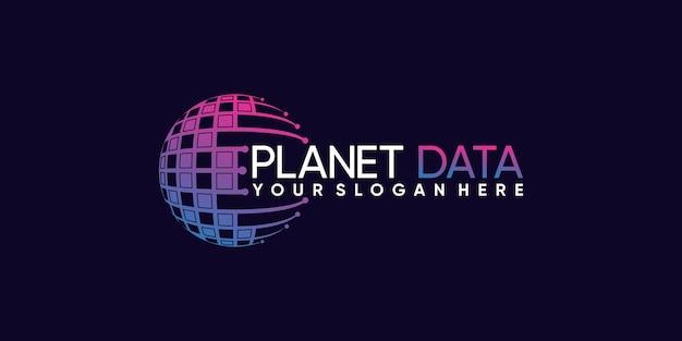 Технология дизайна логотипа planet data с креативной концепцией premium векторы