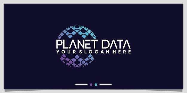 Planet data technology logo design for business company premium vector