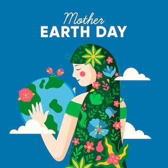 地球と彼女の髪に花を持つ少女