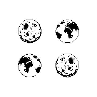 惑星地球と月のアイコン。ピクセルアートの孤立した背景。