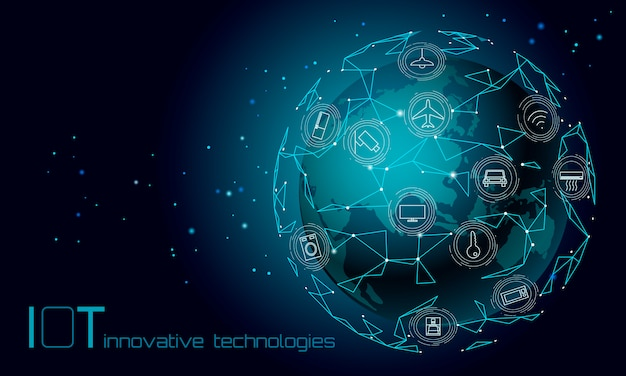 Planet earth asia continent internet of things icon innovation technology concept. wireless communication network iot ict. intelligent system automation modern ai computer online vector illustration
