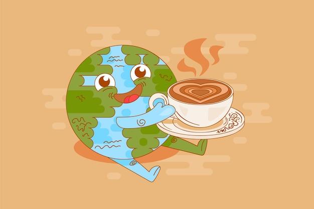 惑星地球コーヒー休憩時間楽しみベクトル。おいしいカプチーノまたはラテとカップを保持している面白い笑顔の地球。キャラクタードリンク芳香エネルギー飲料フラット漫画イラスト