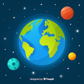 Planet earth concept with other planets