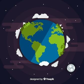 フラットデザインの惑星地球デザイン