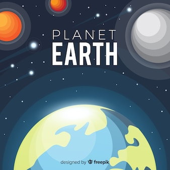 Planet earth design with planets