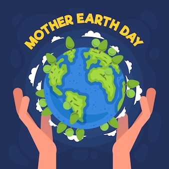Planet earth happy day with hands