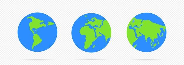 Значок планеты земля. инфографика для веб-баннера, интернета и мобильных устройств. карта мира. вектор на изолированных прозрачном фоне. eps 10