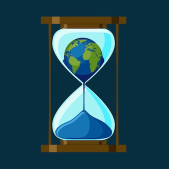 The planet earth inside of the hourglass.