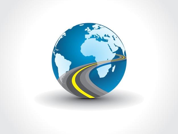 道路の眺めを示すことからの惑星地球地図;図
