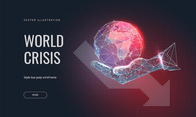 Планета земля на руке человека и стрелка вниз. концепция глобального кризиса или мировой катастрофы.