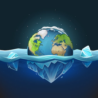 Planet earth with ice in water