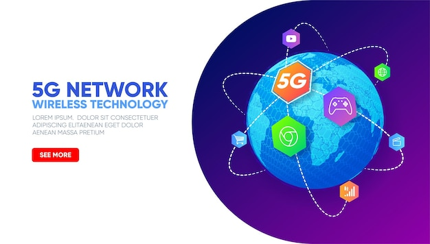 Planet earth with icons around 5g network wireless technology