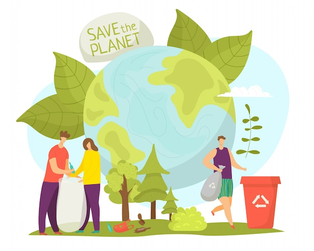 Planet environment and ecology care,  illustration. people character save earth nature, clean environmental world concept. cartoon global protection, man woman volunteer .