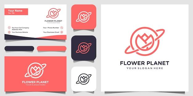 Креативная концепция логотипа planet flower с линейным арт-стилем и дизайном визитной карточки