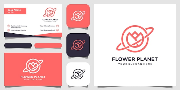 Planet flower creative logo concept with line art style and business card design