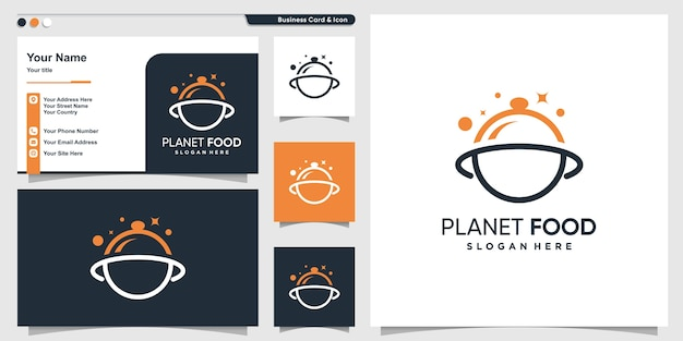 Planet food logo with modern line art style and business card design template, unique, planet, food