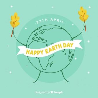 惑星保持葉母地球日背景