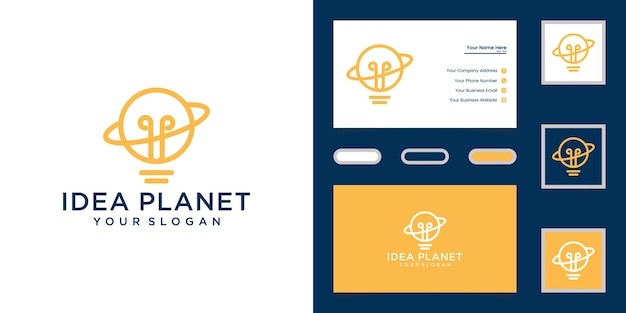 惑星とライトのロゴテンプレートと名刺の惑星ライトロゴの組み合わせ