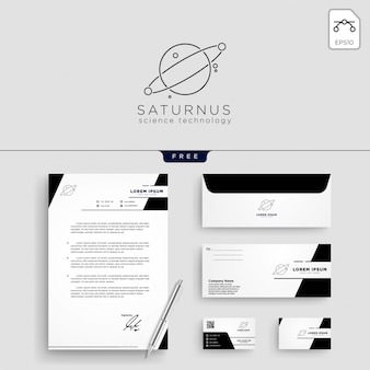 Planet line art logo template vector illustration