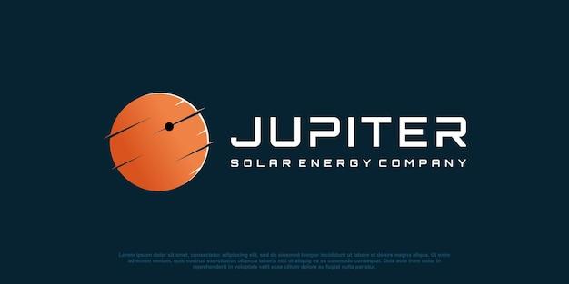 Абстрактный логотип планеты для солнечной технологии premium векторы