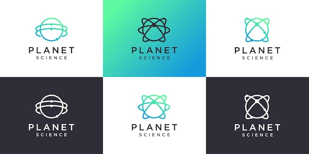 Planet logo collection with science and molecule concept premium vector