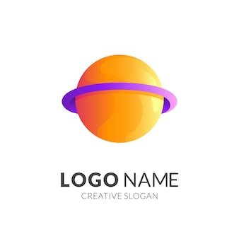 Planet logo design logo with 3d yellow and purple color style