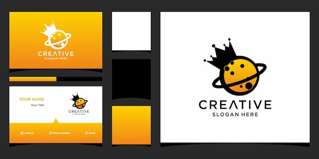 Planet logo design with business card template