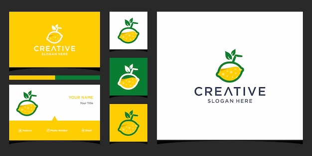 Planet logo design with business card template Premium Vector