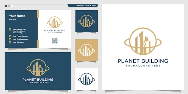 Планета логотип со строительной линией в стиле арт и шаблон дизайна визитной карточки