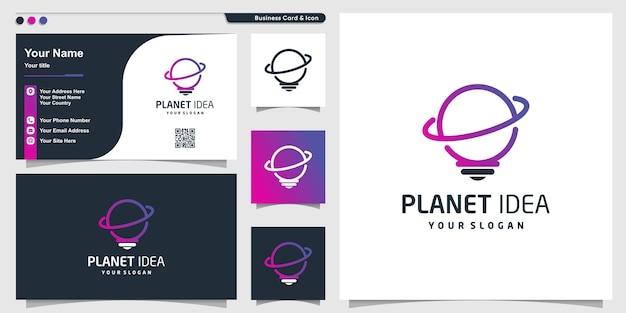 Planet logo with creative idea concept premium vector