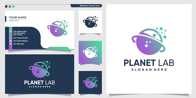 Planet logo with gradient labs style and business card design premium vector