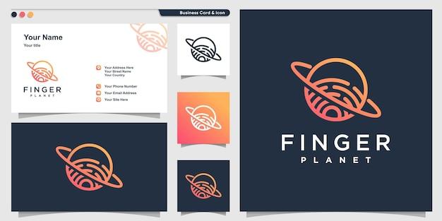 Логотип планеты с линейным рисунком пальца и дизайном визитной карточки premium векторы
