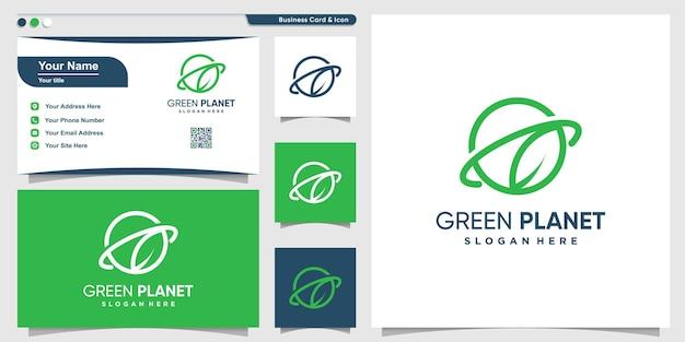 モダンな緑の葉のラインアートスタイルと名刺デザインプレミアムベクトルと惑星のロゴ