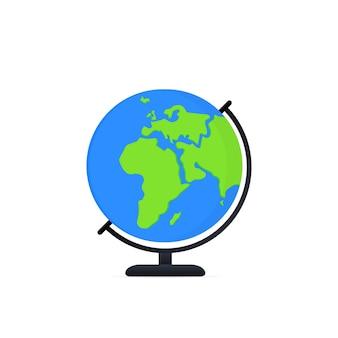 惑星地図地球アイコン。地球のシンボル、世界の地球儀のピクトグラム、旅行者の広い地理のシンボル、またはエコスペースの探索アイコン。孤立した白い背景の上のベクトル。 eps10。