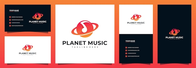 Planet music logo with business card template