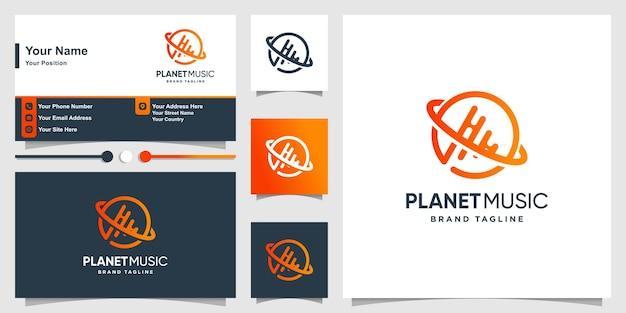 モダンなグラデーションラインアートスタイルのプレミアムベクトルと惑星音楽のロゴ