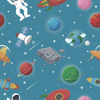Planet pattern with constellations and stars. astronaut with rocket and alien in the open space