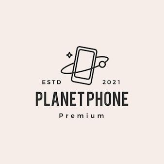 Planet phone hipster vintage logo