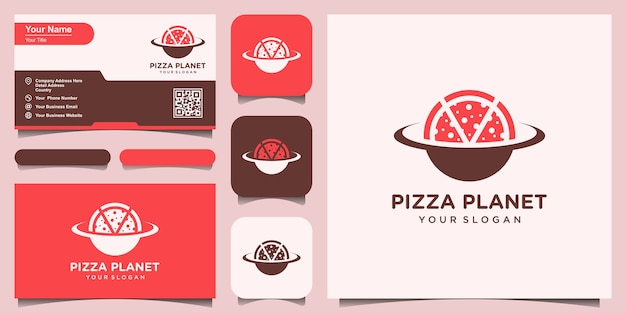 Planet pizza logo design template. set of logo and business card design