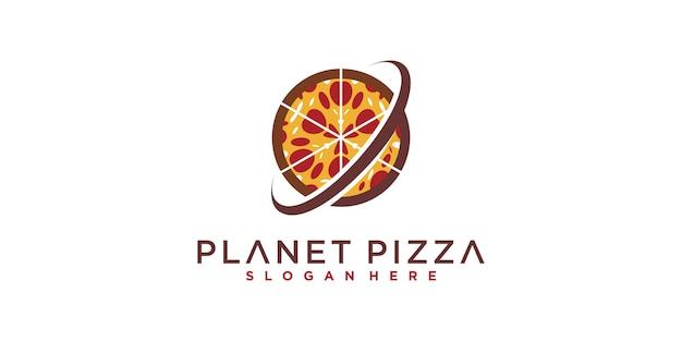 Логотип planet pizza с современной концепцией и уникальной, планетой, пиццей premium векторы