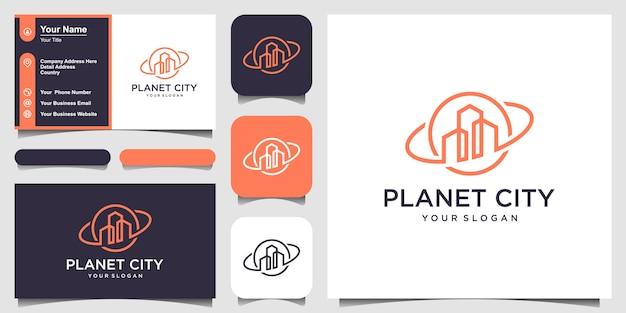 Креативная концепция логотипа planet real estate и дизайн визитной карточки