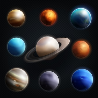 Planet realistic icon set