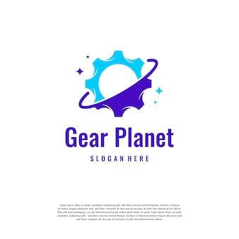 プラネットサービスロゴデザインテンプレート、プラネットギアロゴベクトルデザイン、メカニックエンジニアリングロゴ