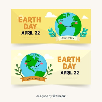 Planet smiling mother earth day banner