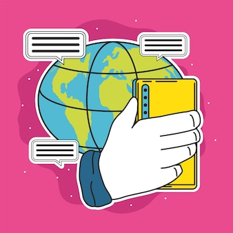 Planet social media hand with phone message