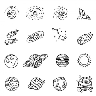 The planet of the solar system. interplanetary travels. the solar system is a set of planets. isolated icons